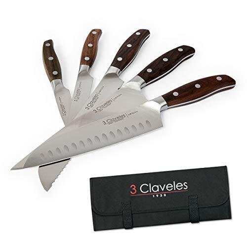 3 Claveles - Juego de 5 Cuchillos Profesionales en Acero Inoxidable Gama...