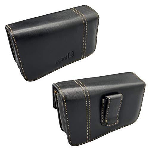 Riñonera (piel auténtica) horizontal con pinza para cinturón universal USE (funda para cámara, funda de cuero, funda, funda para exteriores, funda para teléfono móvil)