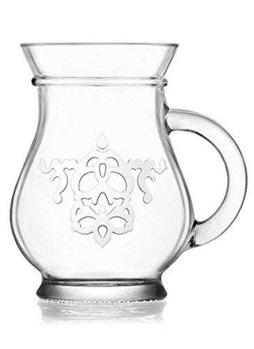 LAV 2er Gläser Set Wassergläser Saftgläser Ayran-Tee-Cappuccino-Kakao-Kaffeegläser Cay Bardagi mit Henkel (ca. 330ml)