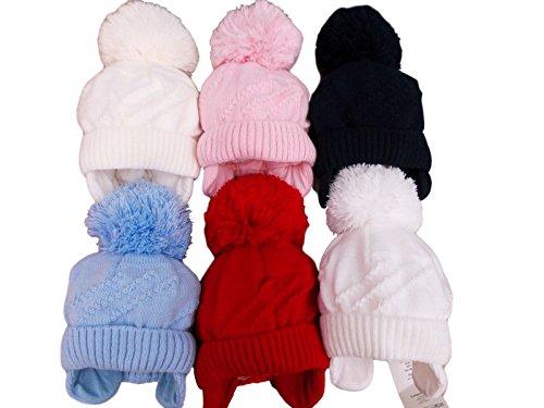 BNWT bébé au chaud d'hiver Bonnet tricoté à pompon en bleu rouge blanc bleu marine rose 0-33-6M rose rouge 3-6 mois