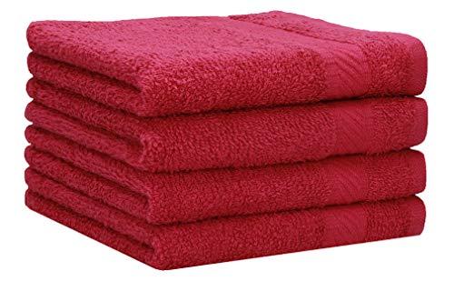 Betz 4 Stück Duschtücher Set Palermo Größe 70x140 cm 100% Baumwolle Badetuch Duschhandtuch Sporthandtuch Farbe Cranberry
