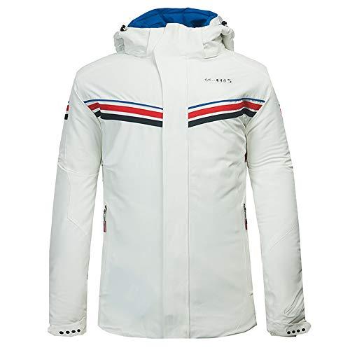 LoyFUN Combinaison de ski pour homme avec veste de ski de montagne imperméable coupe-vent et chaude pour les voyages, la randonnée, la course à pied, blanc, XL
