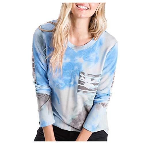 EUCoo - Maglione da donna, a maniche lunghe, con scollo rotondo, stile casual, elegante, taglia G blu cielo XL