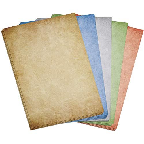 50 Blatt im Set: Briefpapier Altes Buntes Papier Vintage 5 Farben (braun, grau, rot, blau, grün) Mix - DIN A4 - beidseitig
