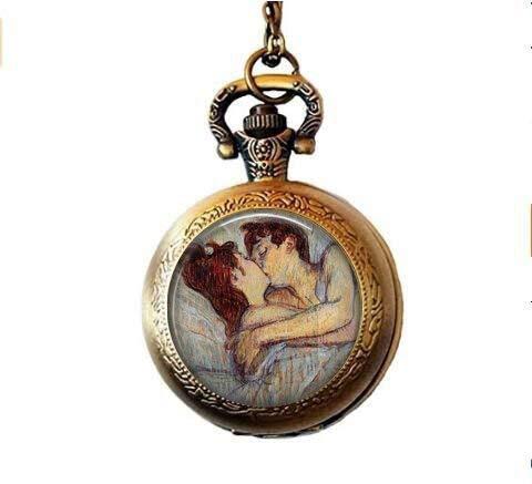 Toulouse Lautrec Halskette–im Bett der Kuss–Lautrec Anhänger–Lautrec Halskette–Klassische Art Schmuck–Signifikante weitere Geschenk–Romantische Halskette Taschenuhr
