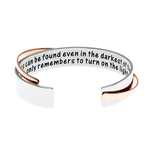 MS.CLOVER Encouragement Gift, Happiness Can be Found Even in The Darkest of Times, If One Only Remembers to Turn On The Light. Message Cuff (Grey)