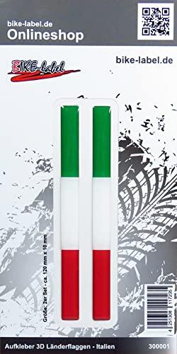 BIKE-label 300001N Aufkleber 3D Länder-Flaggen Italien Italy 2 Stck je 120 x 10mm