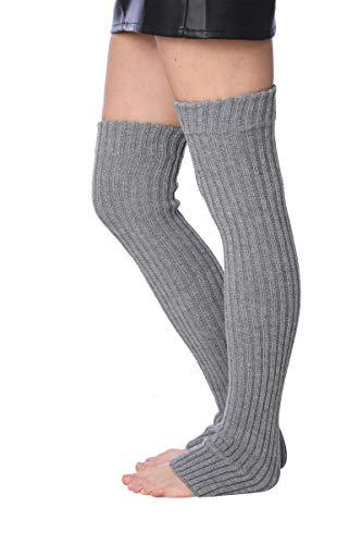 Isadora Paccini 80s - Calentadores de pierna de punto acanalado extra largos para mujer,, Gris, Talla única LW49-MED.GREY-MX