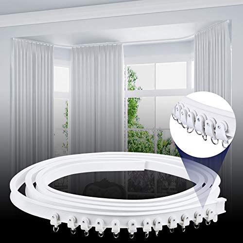 Ceiling Curtain Track, Curved Curtain Track Ceiling Mount Flexible Ceiling Track with Curtain Track System, Alloy Plastic Ceiling Track Room Divider For Bay Window Bunk Bed RV Curtain (3Meters White)