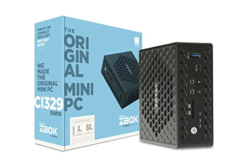 ZOTAC ZBOX Ci329 Nano Silent Mini PC Intel N4100 Quad-Core, Intel UHD 600 Graphics, HDMI, VGA, DisplayPort, 4GB DDR4/64GB SSD/Windows 10 Pro System, ZBOX-CI329NANO-U-W2C
