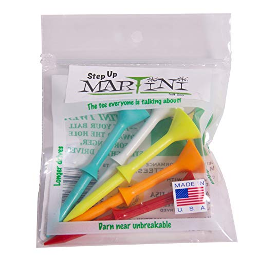 Martini Golf Tees DMT007 Durable Plastic Step-UP Tees (5 Pack), Assorted Colors, 3.25″