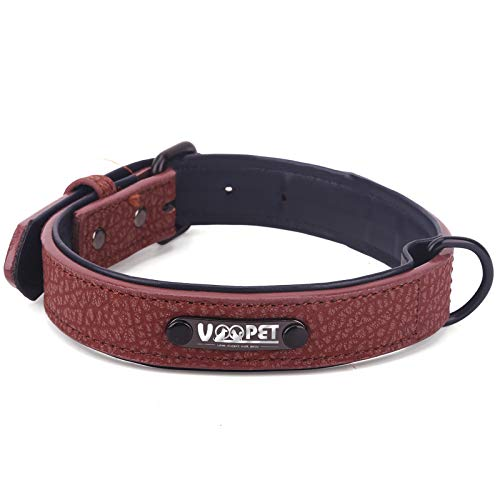 voopet Luxury Leather Dog Collar with Adjustable Metal Buckle, Soft Touch Collars Basic Collar for Puppy Small Medium Large Pets