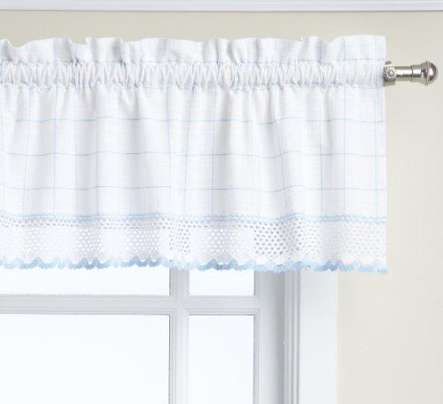 Lorraine Home Fashions Adirondack Valance, 60 by 12-Inch, White/Blu