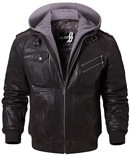 FLAVOR Men Brown Leather Motorcycle Jacket with Removable Hood (Medium (US standard), Dark Brown+Gray)