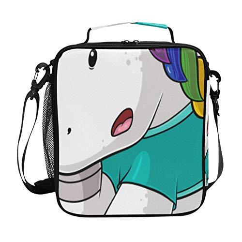 Bolsa de almuerzo Paquetes de hielo Unicornio de dibujos animados reutilizable Juega al fútbol Fiambrera grande con correa para el hombro ajustable y múltiples bolsillos Bolsa de a