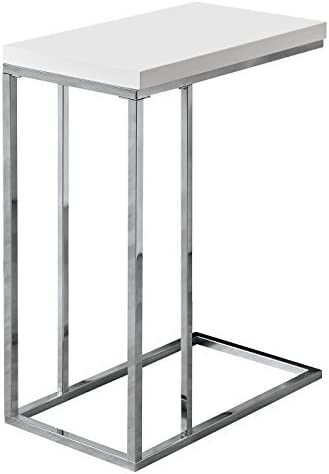 Best Monarch Specialties 3008, Chrome Accent Metal Base C Table, White