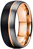 THREE KEYS JEWELRY 8mm Black and Silver Tungsten Wedding Ring Thin Side 18K Rose Gold Grooved Brushed Dome Wedding Band Engagement Ring Size 10.5