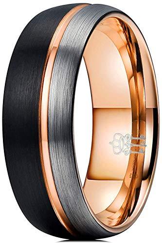 Tre Chiavi Gioielli 8mm Tungsteno Anello Sottile Lato Rosa Linea Oro Nero Argento Spazzolato Mens Wedding Band e tungsteno, 30,5, colore: Nero argento, cod. size Z+1