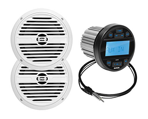 BOSS Audio Systems SGR3.62 Weatherproof Marine Gauge Receiver and Speaker Package - IPX6 Rated Receiver, Bluetooth, USB, MP3, AM/FM Tuner, No CD Player, 6.5 Inch 2-Way Speakers x 2, Dipole Antenna