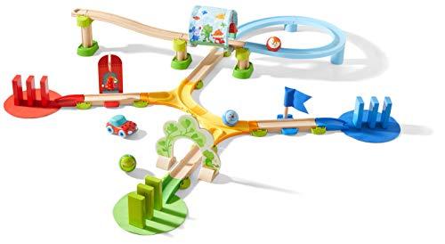 HABA 304134 - Kullerbü – Kugelbahn Farb- und Zählspaß, Holzkugelbahn mit Lerneffekt, schult Farben- und Zahlenverständnis, Motorikspielzeug ab 2 Jahren
