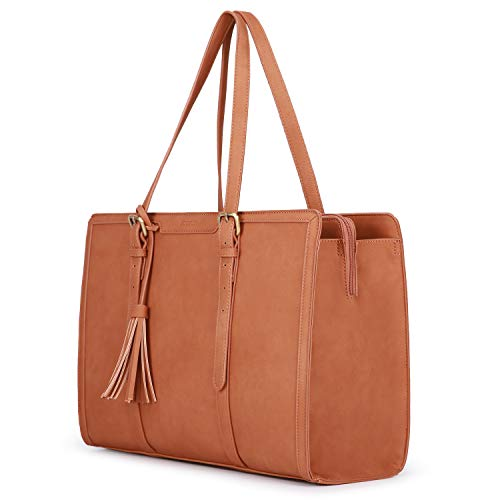 ECOSUSI  Women Tote Bag 15.6 inch PU Leather Laptop Bag 3 Layer Compartments Briefcase for School Work Vintage, L, Brown