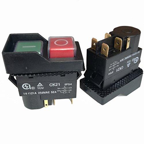 2pcs 5pins ck21impermeable 16(12) a 250Vac autobloqueo electromagnética on off pulsador interruptor interruptores de partida para potencia de corte máquina de cortar cemento hormigón mezcladores