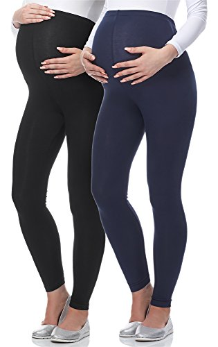 Be Mammy Lange Umstandsleggings aus Viskose BE-02 2er Pack (Schwarz/Dunkelblau, XL)