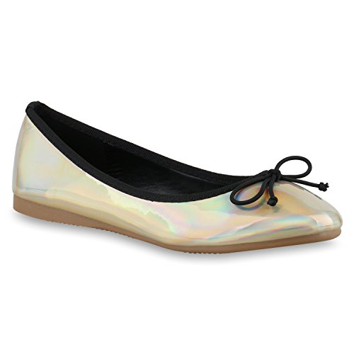 stiefelparadies Klassische Damen Ballerinas Elegante Schimmer Flats Lack Schleifen Strass Ballerina Slipper Schuhe 131307 Gold Schimmern 37 Flandell