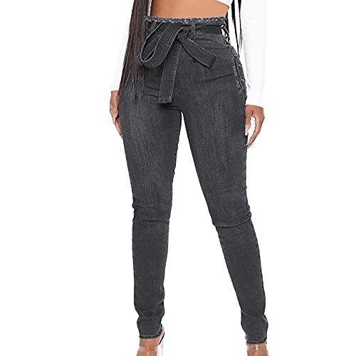 DOSN Pantalones vaqueros para mujer, ajustados y elásticos, de corte ajustado, con nudo de lazo, para adolescentes y niñas, de cintura alta, para el tiempo libre Negro M