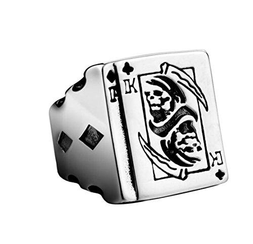 PAMTIER Herren Titan Stahl Gotisch Radfahrer Todesring Sichel Poker Schmuck Silber Schwarz Größe 65 (20.7)
