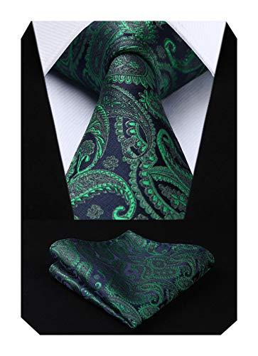 HISDERN Herren Krawatte Taschentuch Paisley Blumen Hochzeit Krawatte & Einstecktuch Set Grün und Marineblau