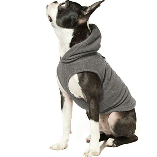 Gooby Dog Hoodie Fleece Vest - Gray, Medium - Pull Over Dog Jacket with Leash Ring - Winter Small Dog Sweater - Warm Dog Clothes for Small Dogs Girl or Boy Dog Vest for Indoor and Outdoor Use