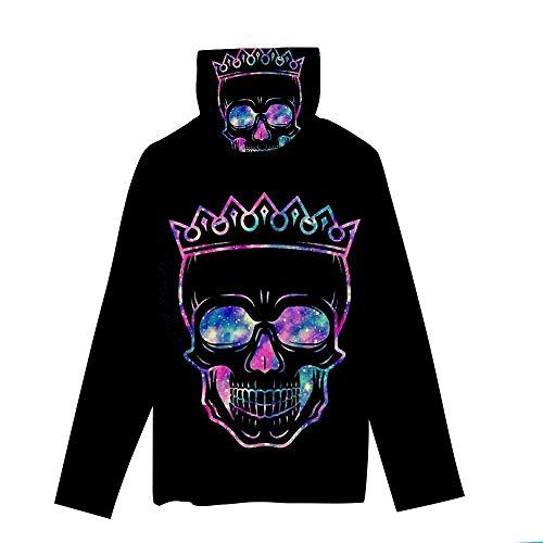 T-Shirt À Manches Longues,Casual Long Sleeve Imprimé Crâne Étoilé Violet Col Rond Unisex T-Shirt Tops Imprimé Chemisier Body Shirt avec Écharpe Hommes Femmes Automne Hiver Pullover Sweatshirt