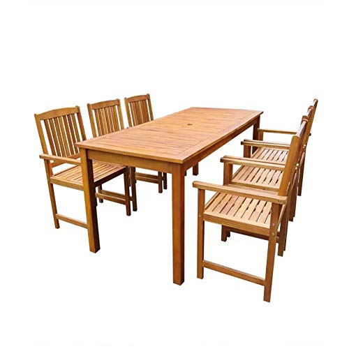 SOULONG Juego de Mesa de Exterior de Madera, Juego de Comedor para Exteriores, Mesa de Comedor y 6 sillas para jardín y Patio