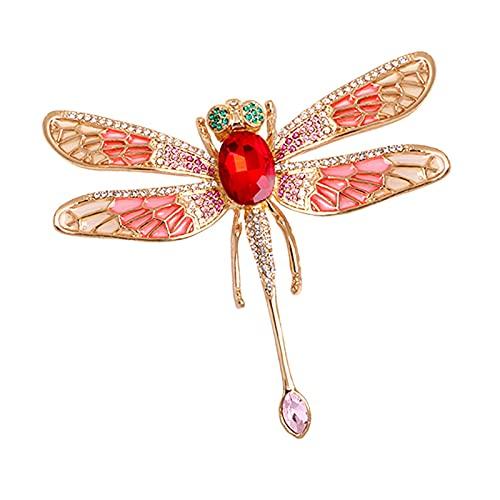 yywl Broche Gran Esmalte libélula broches Mujeres exageración 6 Colores Insectos Fiesta Banquete Casual Broche Pins Regalos (Metallfarbe : Red)