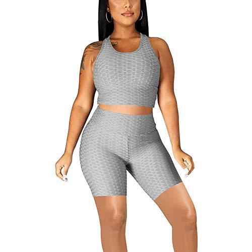 Conjunto de entrenamiento de 2 piezas con textura de burbujas para mujer, chaleco de cultivos anti celulitis, top + pantalones cortos de motorista para gimnasio, yoga y deporte