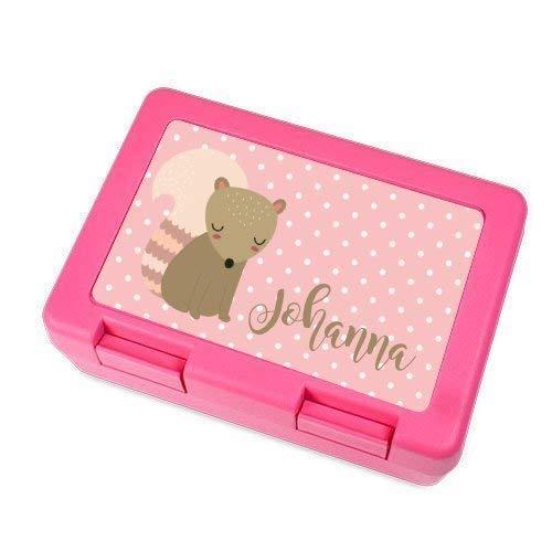Brotdose mit Name für Mädchen in Pink mit Tier als Motiv