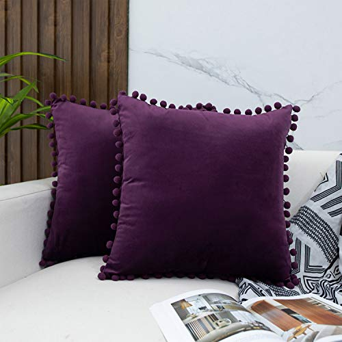 JUSPURBET Pom Poms Velvet Pillow Covers,Pack of 2 Decorative Throw Pillow Cases for Couch Sofa Bed,16x16 Inches,Eggplant Purple