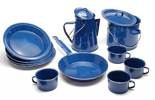 A.Blöchl Hochwertiges 13 teiliges Emaille Kochset Western für 4 Personen Geschirr Set Camping Koch Set Blau Emaille