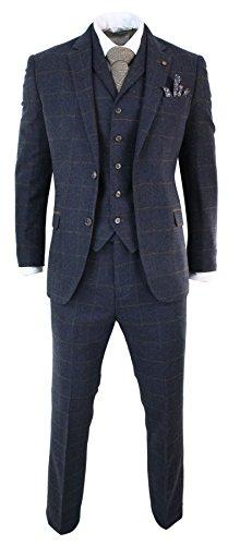 Unbekannt Herrenanzug Tweed Fischgräte Design Blau Kariert 3 Teilig Wolle Preis