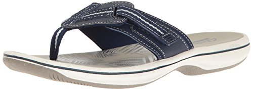 Clarks Women#039s Brinkley Jazz Flip Flop Navy Synthetic 10 M US