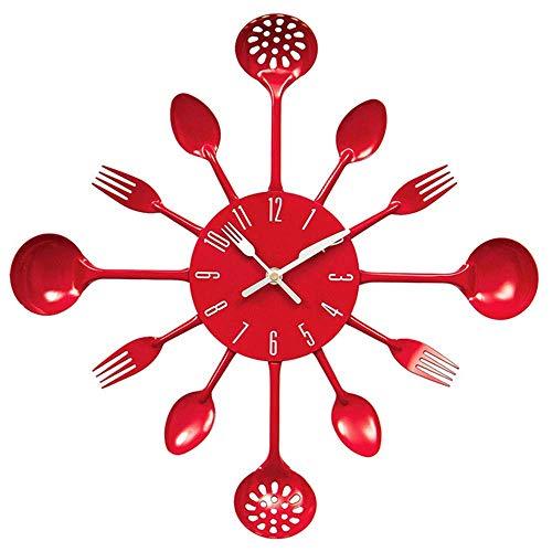 Pared Relojes Moderno Creativo Cubiertos Forma Colgar Reloj Tenedor y Cuchara Espejo Adhesivo Pared para Salón Cocina Dormitorio - Rojo