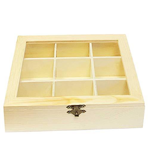 Acan Caja de Madera Natural 9 Compartimentos con Tapa de Cristal y Cierre metálico 4.8 x 21.5 x 18 cm