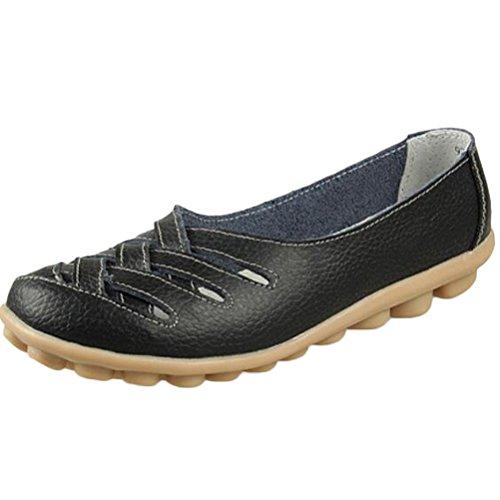 Vogstyle Damen Neu Hohl Mokassins Flach Loafer Slipper Schuhe Black UK9.5/EU44/CH44