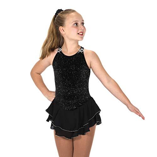 BAOLUO-SAOLUO Kunstschaatsjurk, dames en meisjes, zwart mouwloos, 151 Shimmer jurken, Halter uitgesneden figuur schaatsrok