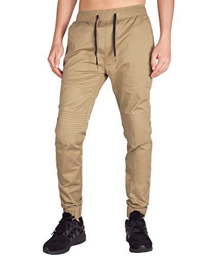 ITALY MORN Pantalones Jogger Chinos Plisado Hombre para el Trabajo Algodón S Caqui
