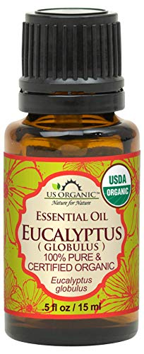 US Organic 100% Pure Eucalyptus Essential Oil (Globulus) - USDA Certified Organic, Steam Distilled - W/Euro droppers (More Size Variations Available) (15 ml / .5 fl oz)