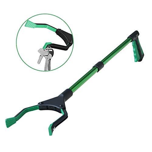 Herramienta de agarre plegable de 32 pulgadas, con puntas magnéticas para la recogida de basura, con mango de goma giratorio, brazo largo para basura/residuos, agarre de jardín, color verde