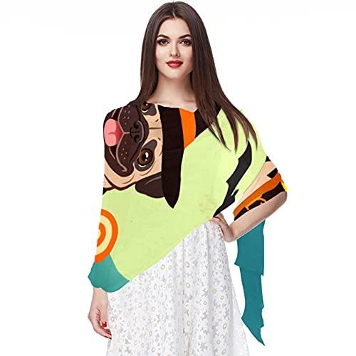 WJJSXKA Bufandas para mujer Bufandas ligeras de moda Estampado floral Patrón Bufanda Chal Wraps, Halloween Pug Perro Bruja Caldero Dulces Truco o trato