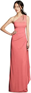Long Mesh One Shoulder Illusion Bridesmaid Dress Style F19074